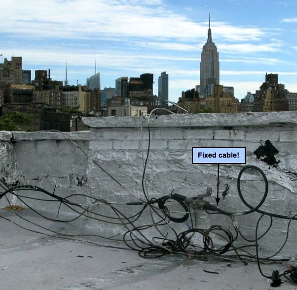 Time Warner's cables on NYC roof