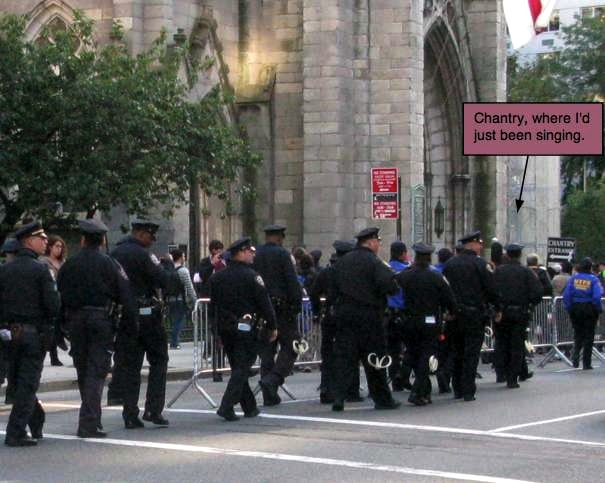 Police Marching Past Grace Church during Police Brutality Protest
