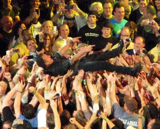 Bruch Springsteen Crowd Surfing at Meadowlands, 2012