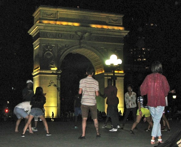 Washington Square Park, New York City, at night