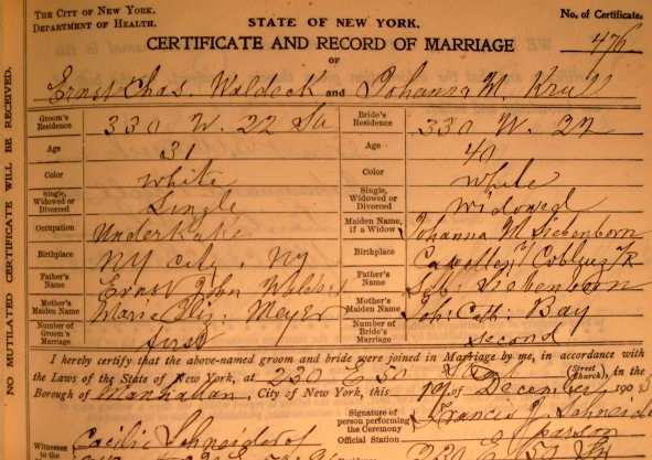 Rev. Francis J. Schneider Marriage Records, New York Public Library