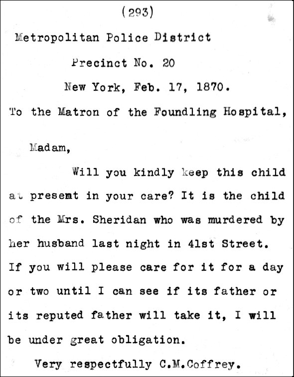 Note left at New York Foundling